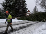Parker McFadden of Asplundh lens a hand after a tree toppled power lines, knocked out power and closed Northeast 114th Avenue in both directions to traffic following an ice storm Monday morning, Feb. 15, 2021.