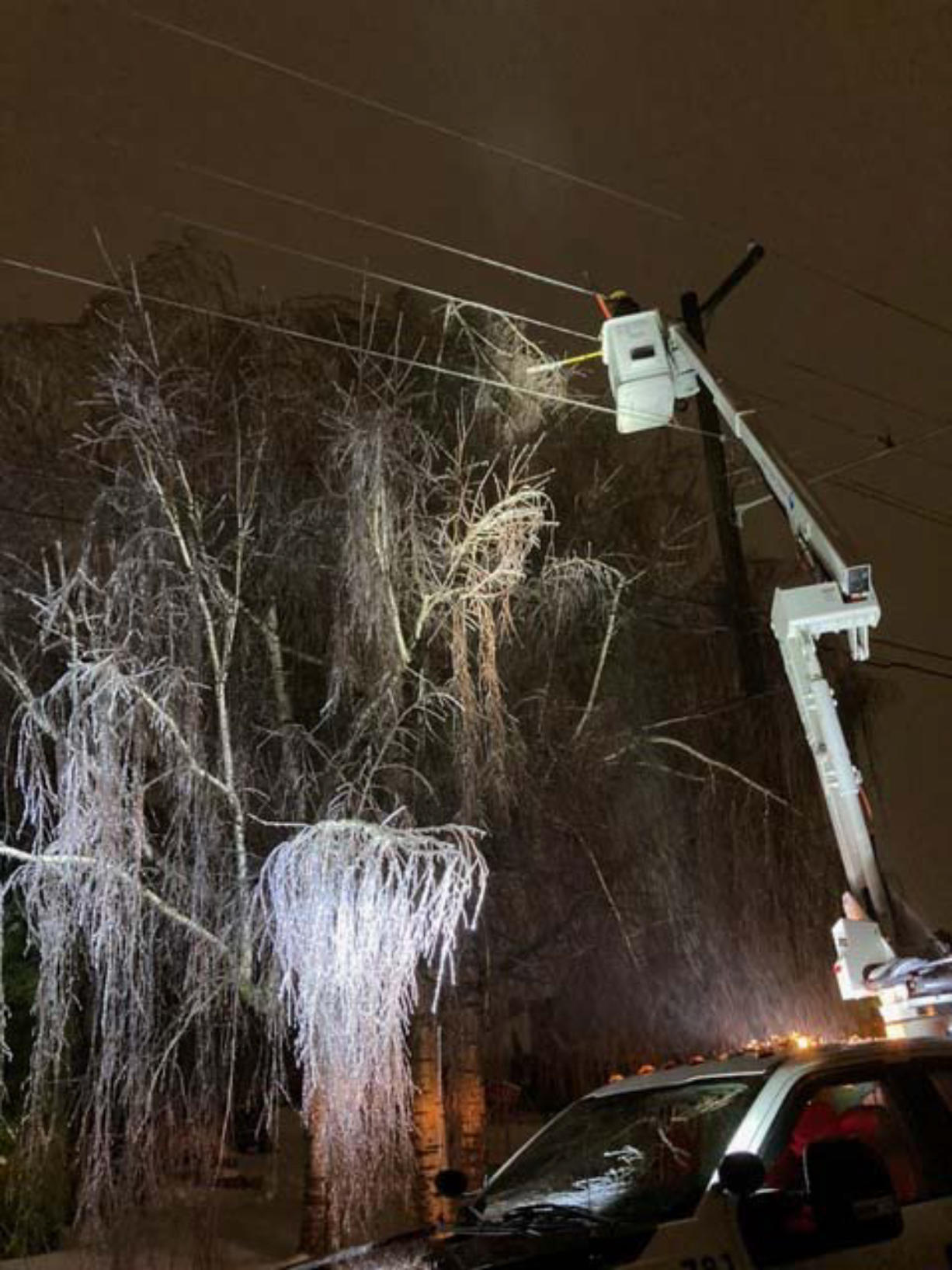 Clark County Public Utilities crews are continuing to work around the clock to restore power to its customers following this weekend's winter weather and ongoing thaw. A spokesman said some roads are still inaccessible due to fallen trees.