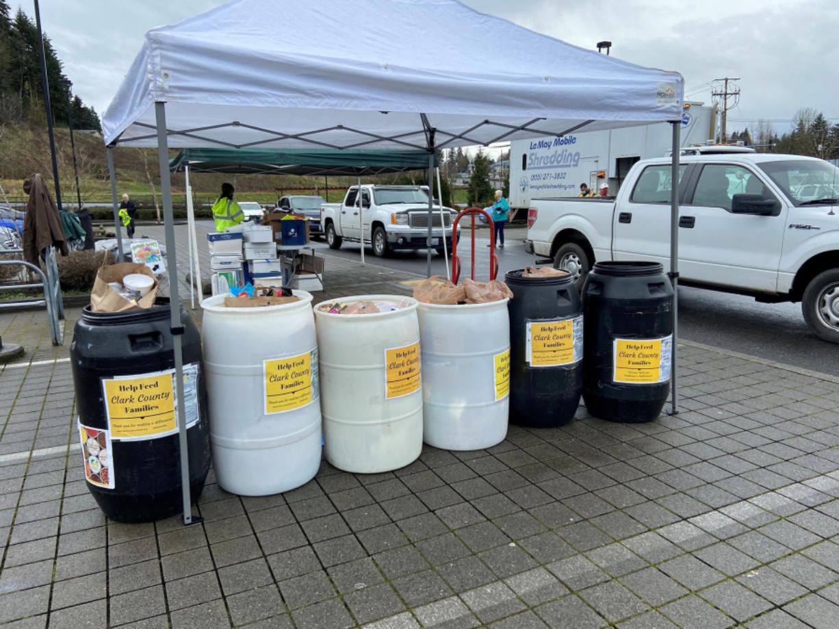 SALMON CREEK: The Salmon Creek Lions Club held a free shredding event for community members and collected donations of food at the same time for the Clark County Food Bank.