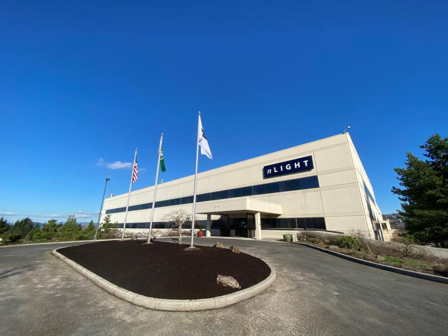 A photo from nLIGHT shows the company's new facility in Camas.