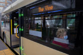 Heather Manning of Vancouver sits aboard a C-Tran Vine bus headed east while departing from the Turtle Place Transit Station in downtown Vancouver on Monday. The Vine runs along Fourth Plain Boulevard and is Vancouver's first Bus Rapid Transit line, though two more are in the works.