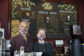 """Java House owners Lonnie and Cora Chandler have seen a healthy return of customers to Java House since indoor dining was allowed in mid-February. They both said they are grateful for the community's support for their business during the pandemic. """"We're excited to see them again,"""" Lonnie Chandler said."""