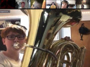 WASHOUGAL: The Jemtegaard Middle School Band, including eighth-grader Chance Wilson on tuba, helped Columbia River Gorge Elementary third-grade students understand concepts of sound and sound waves over Zoom.