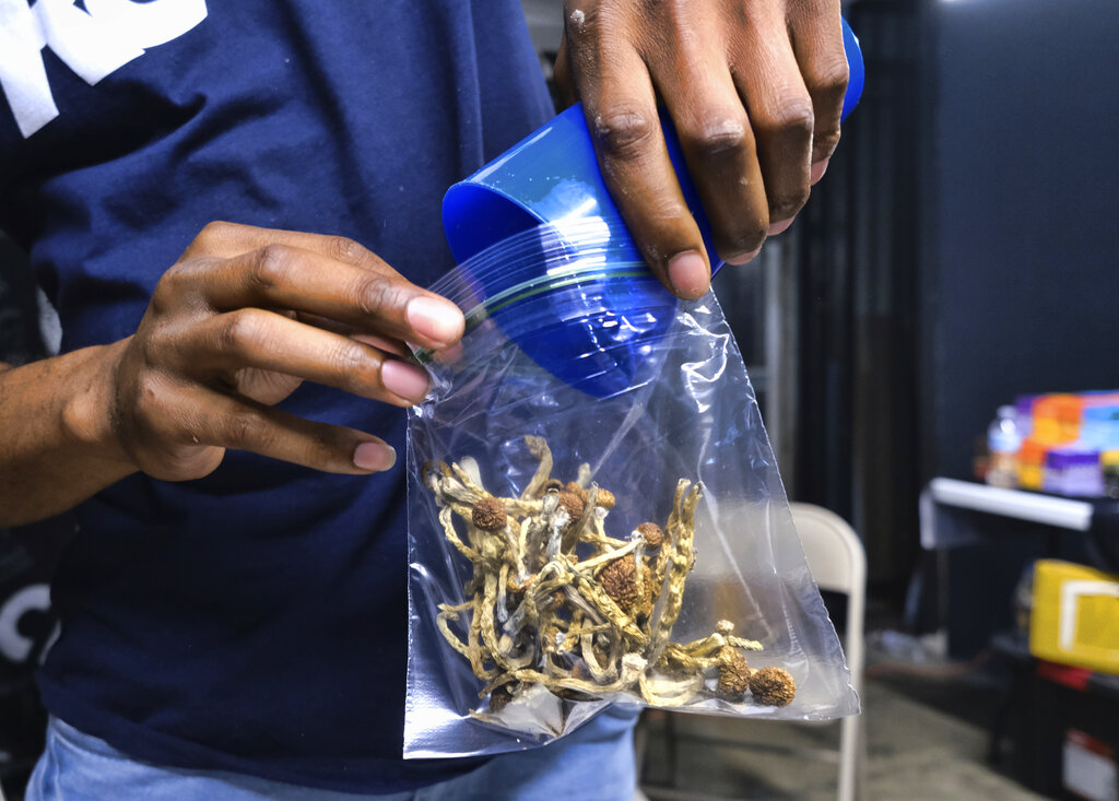 FILE - In this May 24, 2019, file photo a vendor bags psilocybin mushrooms at a pop-up cannabis market in Los Angeles. Voters in Oregon in November 2020 will decide on a measure that would legalize therapeutic, regulated use of psilocybin. The measure would require the Oregon Health Authority to allow licensed, regulated production and possession of psilocybin exclusively for administration by licensed facilitators to clients.