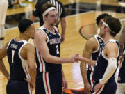 Drew Timme (2) scored 28 points and grabbed 10 rebounds in Gonzaga's 100-61 win at San Francisco on Saturday, Feb. 13, 2021.