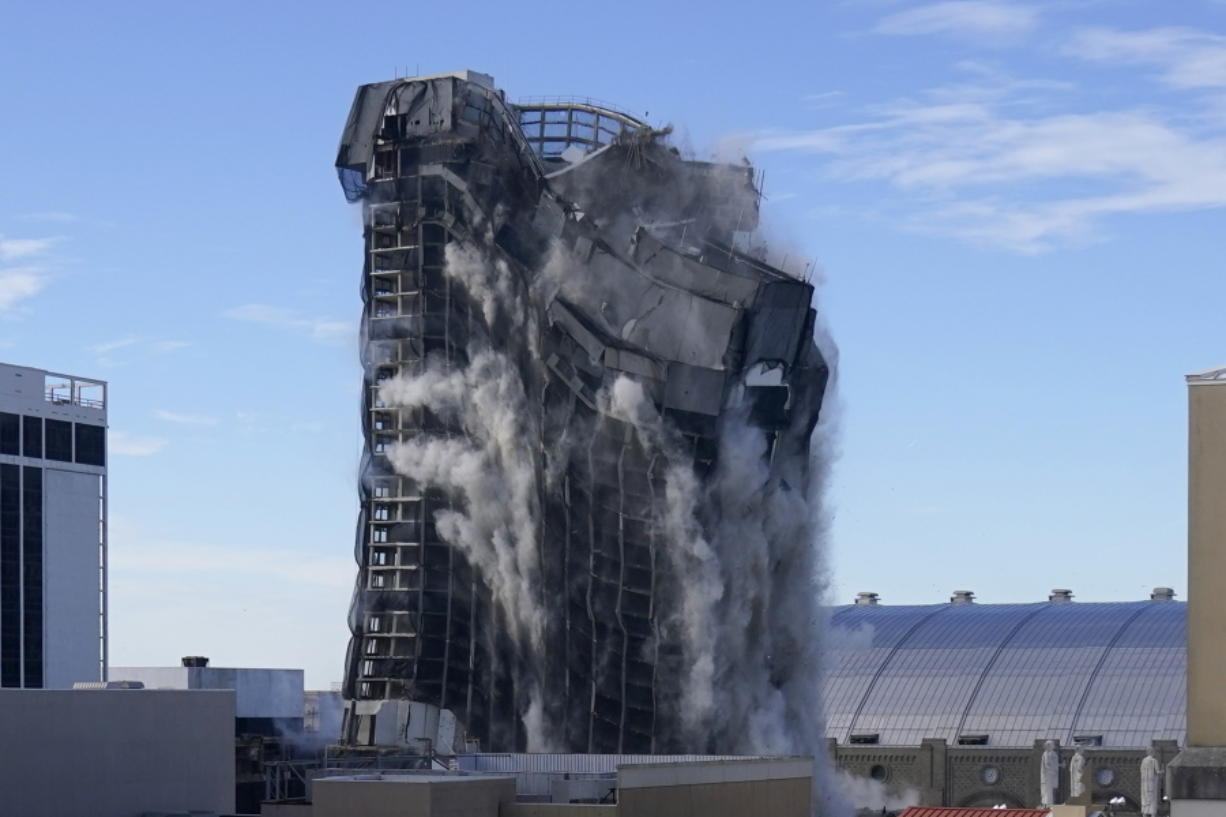The former Trump Plaza casino is imploded on Wednesday, Feb. 17, 2021, in Atlantic City, N.J.