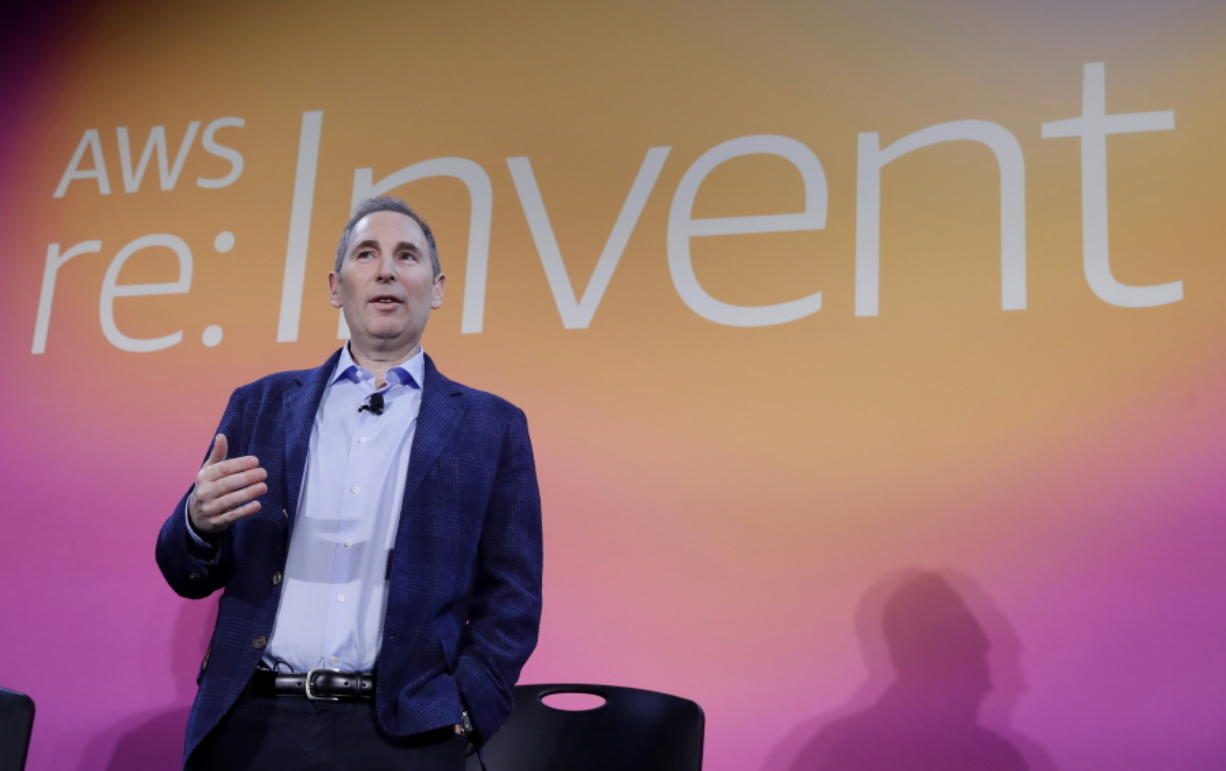 FILE - In this Dec. 5, 2019, file photo, AWS CEO Andy Jassy, discusses a new initiative with the NFL during AWS re:Invent 2019 in Las Vegas. Amazon announced Tuesday, Feb. 2, 2021, that Jeff Bezos would step down as CEO later in the year, leaving a role he's had since founding the company nearly 30 years ago. Amazon says Bezos will be replaced in the summer by Jassy, who runs Amazon's cloud business.