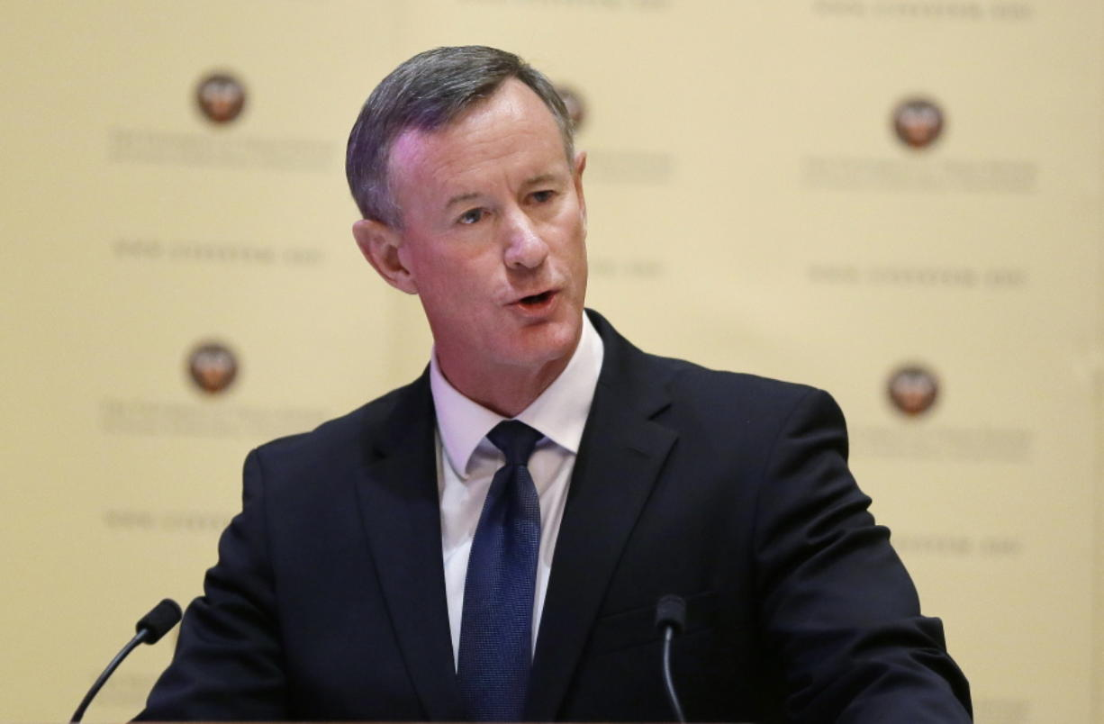 """FILE - In this Aug. 21, 2014, file photo, William McRaven addresses the Texas Board of Regents in Austin, Texas.  McRaven, the retired U.S. Navy admiral who directed the raid that killed Osama bin Laden, is continuing his career as an author. McRaven is adapting his best-selling """"Make Your Bed: Little Things That Can Change Your Life ... And Maybe the World"""" for younger audiences. Little, Brown Books for Young Readers announced Monday that McRaven's """"Make Your Bed With Skipper the Seal"""" will come out Oct. 12."""