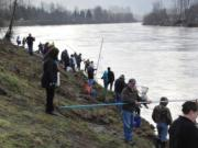 Smelt dippers crowd the banks at Lion's Pride Park south of Castle Rock during last year's first smelt dip of the season. Fisheries managers and health officials have decided to offer a limited smelt dip this season, but warn participants they must follow safety guidelines during the COVID-19 pandemic.