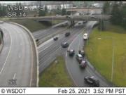 Vancouver police investigate an apparently stolen delivery truck on the onramp to Interstate 5 on Thursday afternoon.