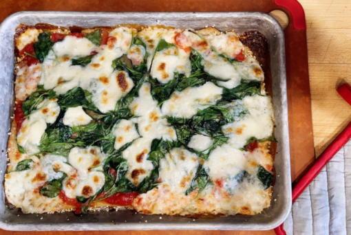 A sheet-pan pizza.