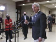 House Minority Leader Kevin McCarthy, R-Calif., criticizes the the Democrats' $1.9 trillion COVID-19 relief bill during comments to reporters as Congress preps for its first votes on the measure, on Capitol Hill in Washington, Wednesday, Feb. 24, 2021. (AP Photo/J.