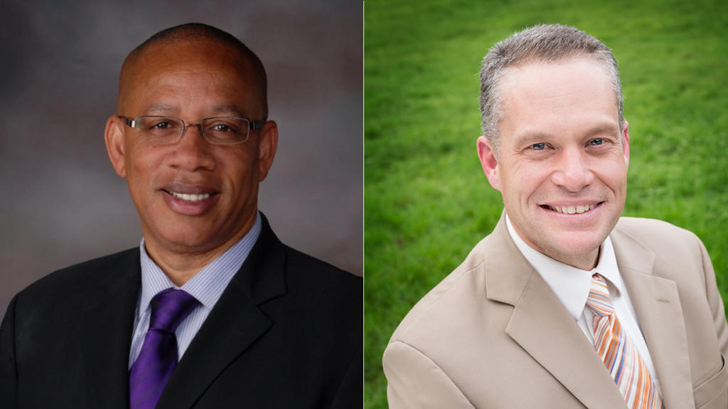 The finalists are Camas School District Superintendent Jeff Snell, right, and Kenneth (Chris) Hurst, superintendent of the Othello School District in Adams County.