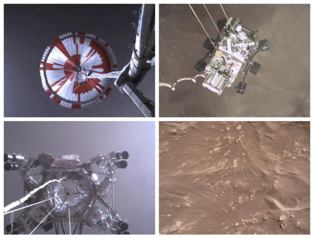 This combination of images from video shows steps in the descent of the Mars Perseverance rover as it approaches the surface of the planet on Thursday.