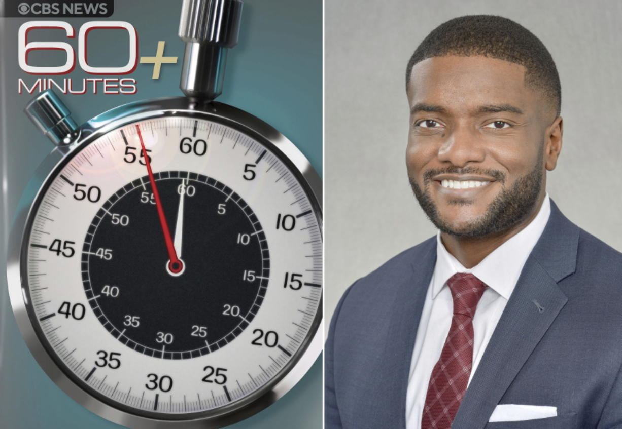 """This image released by CBS News shows the logo for the new """"60 Minutes Plus"""" program, left, and Jonathan Blakely, is executive producer of the show. CBS News says it is launching a streaming version of """"60 Minutes"""" on the new Paramount Plus service, starting next week. CBS hopes to expose the durable brand to a younger and more diverse audience."""