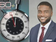 "This image released by CBS News shows the logo for the new ""60 Minutes Plus"" program, left, and Jonathan Blakely, is executive producer of the show. CBS News says it is launching a streaming version of ""60 Minutes"" on the new Paramount Plus service, starting next week. CBS hopes to expose the durable brand to a younger and more diverse audience."