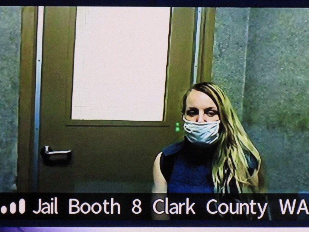 Lacee Cabrera, 30, of Vancouver appears Friday morning via Zoom in Clark County Superior Court in connection with a Jan. 31 fatal hit-and-run crash on Interstate 5.