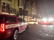 Fire in a wall between condo units displaced two families late Saturday night in Vancouver's Columbia Way neighborhood. Vancouver Fire Department crews were called at 11:35 p.m. for a multiple residential structure fire at 778 S.E. Fairwinds Loop.
