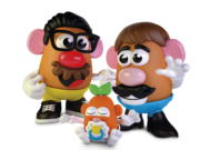 This photo provided by Hasbro shows the new Potato Head world.  Mr. Potato Head is no longer a mister. Hasbro, the company that makes the potato-shaped plastic toy, is giving the spud a gender neutral new name: Potato Head. The change will appear on boxes this year.