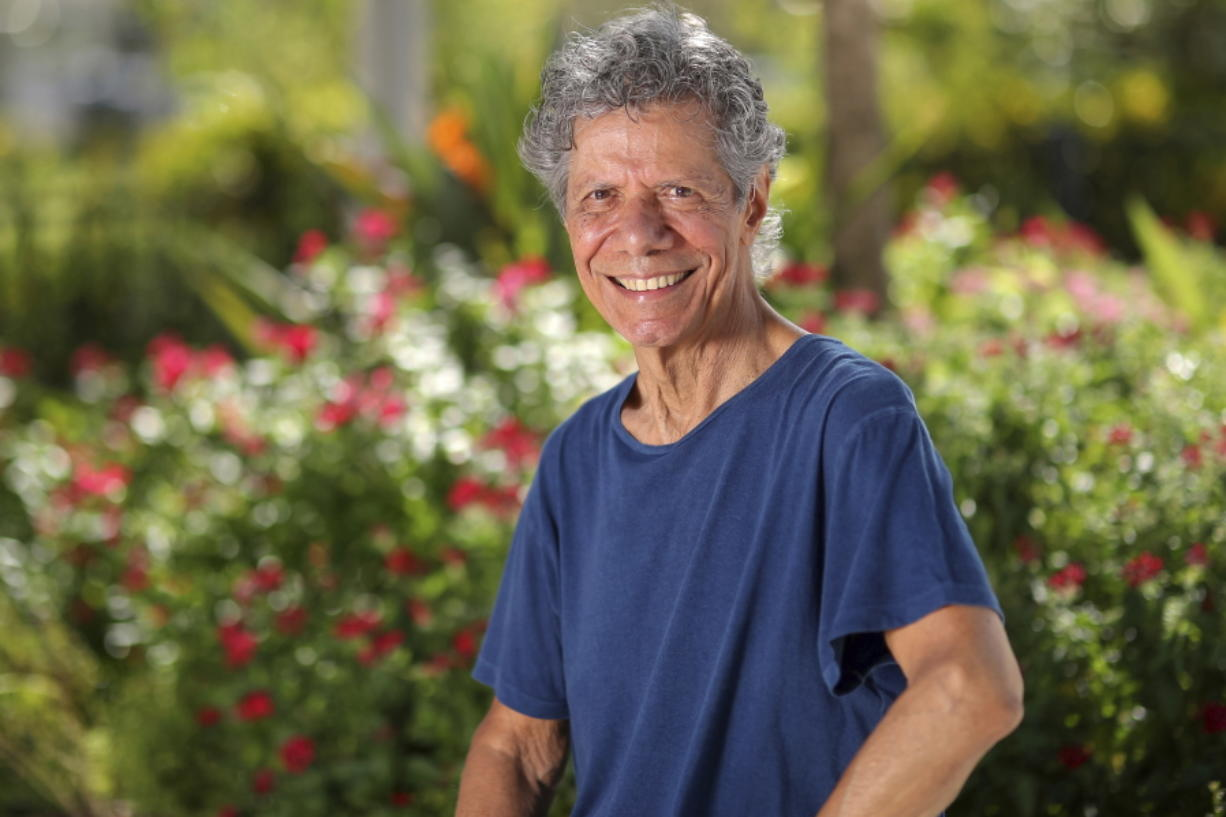 """FILE - Jazz pianist and composer Chick Corea poses for a portrait in Clearwater, Fla., on Sept. 4, 2020, to promote his new double album """"Plays."""" Corea, a towering jazz pianist with a staggering 23 Grammy awards who pushed the boundaries of the genre and worked alongside Miles Davis and Herbie Hancock, has died. He was 79. Corea died Tuesday, Feb. 9, 2021, of a rare for of cancer, his team posted on his web site. His death was confirmed by Corea's web and marketing manager, Dan Muse."""