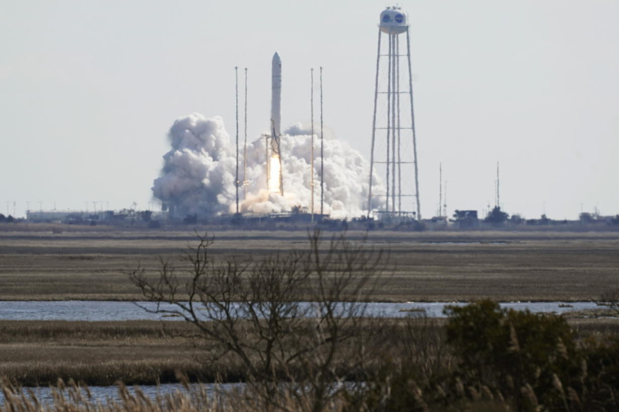 Northup Grumman's Antares rocket lifts off the launch pad at NASA's Wallops Island flight facility in Wallops Island, Va., Saturday, Feb. 20, 2021. The rocket is delivering cargo to the International Space Station.