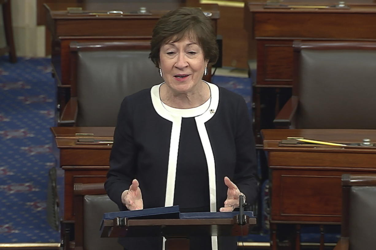 In this image from video, Sen. Susan Collins, R-Maine, speaks after the Senate acquitted former President Donald Trump in his second impeachment trial in the Senate at the U.S. Capitol in Washington, Saturday, Feb. 13, 2021. Trump was accused of inciting the Jan. 6 attack on the U.S. Capitol, and the acquittal gives him a historic second victory in the court of impeachment.