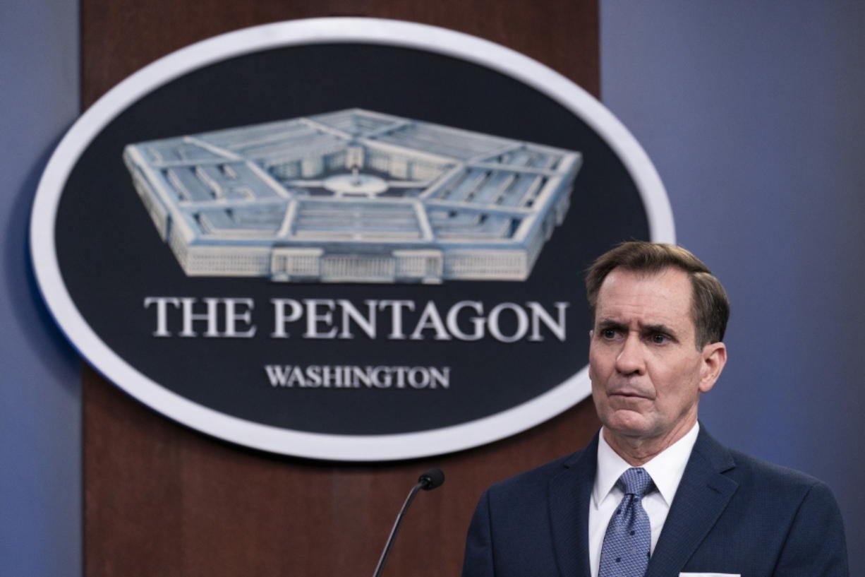 FILE - In this Wednesday, Feb. 17, 2021, file photo, Pentagon spokesman John Kirby speaks during a media briefing at the Pentagon, in Washington. Kirby announced late Thursday, Feb. 25, 2021, that the U.S. military conducted airstrikes against facilities in eastern Syria that the Pentagon said were used by Iran-backed militia groups, in response to recent attacks against U.S. personnel in Iraq. Kirby said the action was authorized by President Joe Biden.