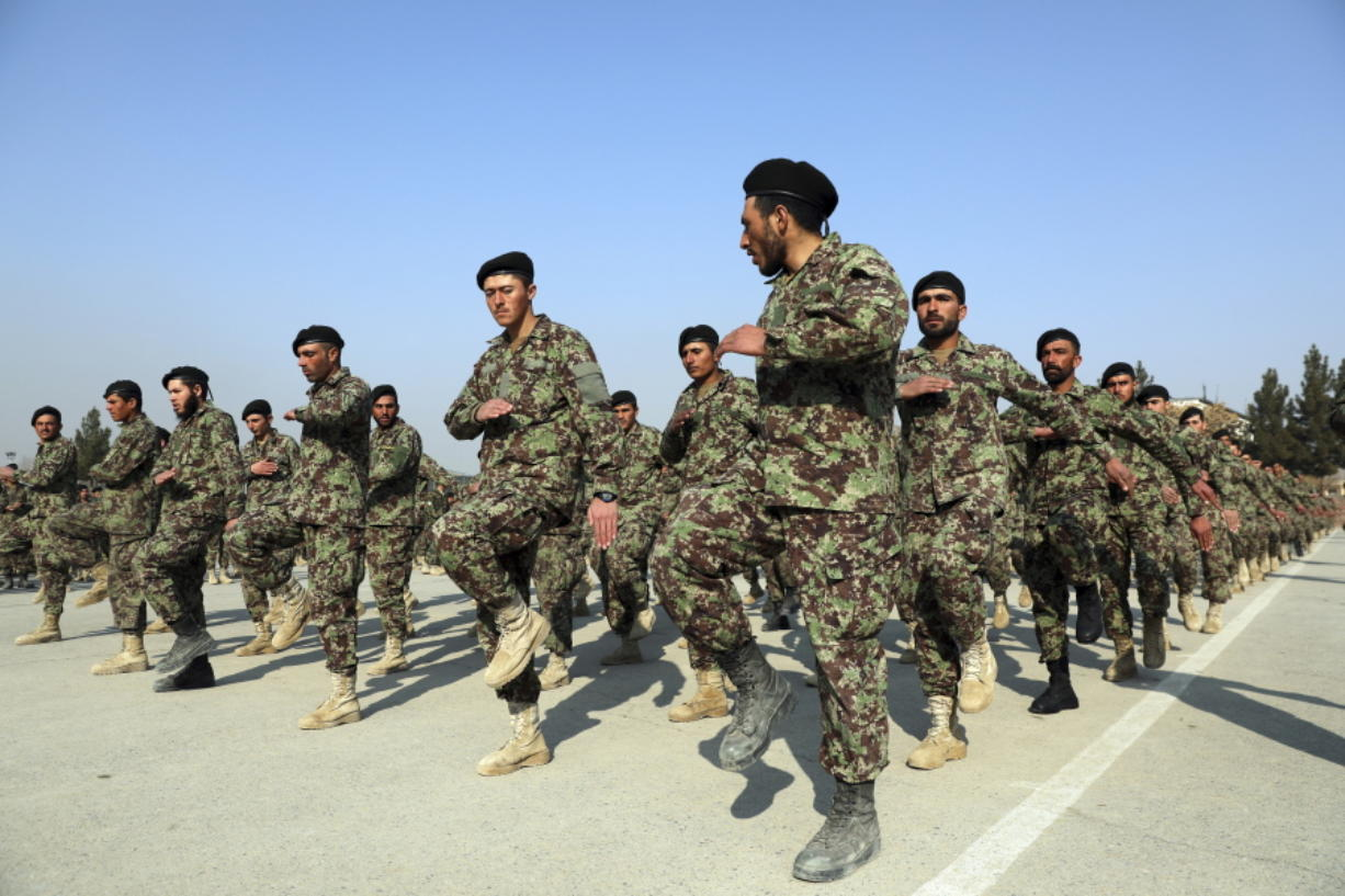 Newly graduated Afghan National Army march Jan. 18 during their graduation ceremony in Kabul, Afghanistan.