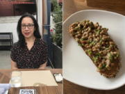 This combination of photos shows Anne Alderete at a restaurant on Aug. 12, 2020, left, and a dish of natto and chives on gluten free sourdough bread. Whether it's kimchi, beets or broccoli, the pandemic has had a strange impact on food cravings. Alderete is enjoying something she never thought she would: natto. Made of fermented soy beans, natto is popular in Japan but considered too slimy and stinky for some. (J. Alderete, left, and A.