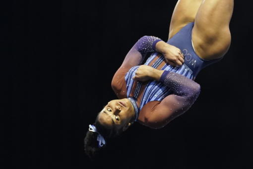 Jordan Chiles performs in the floor exercise during the Winter Cup gymnastics competition Saturday at Indianapolis.