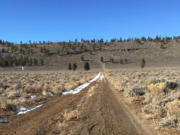 Looking back at the steep trail on the west rim into the Hole-in-the-Ground crater, an hour outside Bend, Ore.