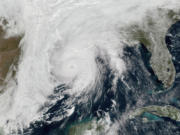 This satellite image shows Hurricane Zeta approaching Louisiana on Oct. 28 in the Gulf of Mexico.