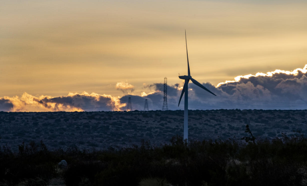 Dusk settles over power-generating wind turbines near the Tehachapi Mountains in Rosamond. Federal wildlife officials are allowing Manzana, a private wind energy company, to provide funding to breed critically endangered California condors to replace any killed by its turbines.