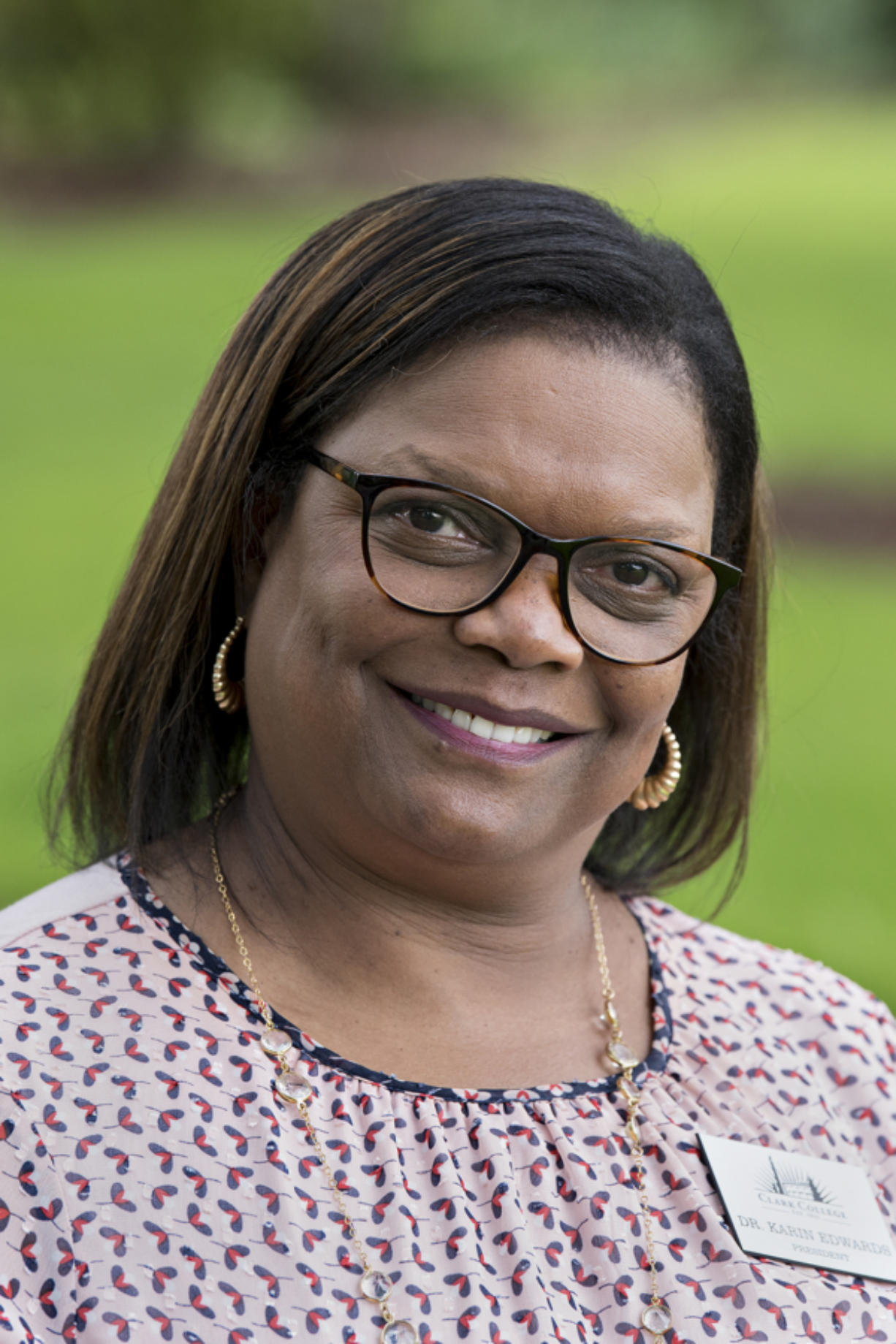Karin Edwards,  president of Clark College who has a background supporting students of color, is pictured on campus Tuesday afternoon, July 7, 2020.