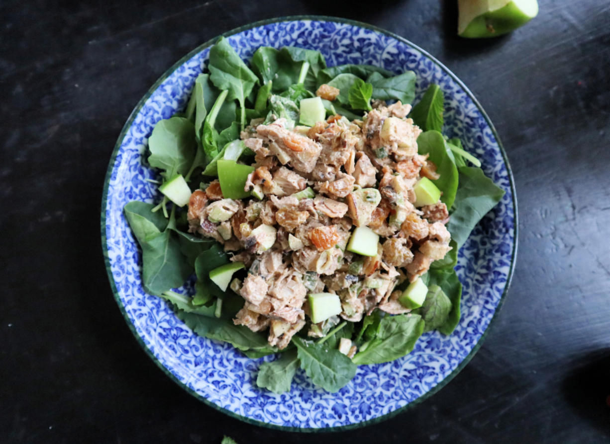 This curried rotisserie chicken salad gets its crunch from toasted almonds and diced Granny Smith apples.