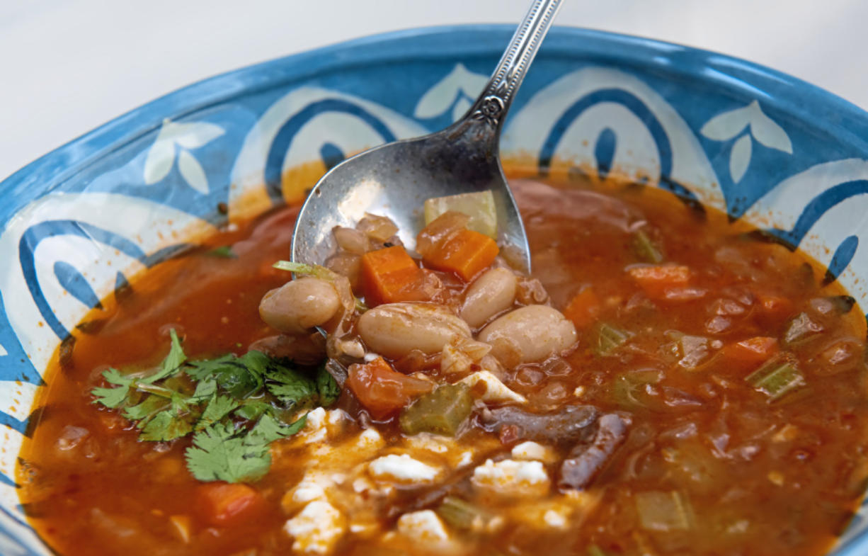 Fasolada is a Greek soup of dry white beans, olive oil, and vegetables.