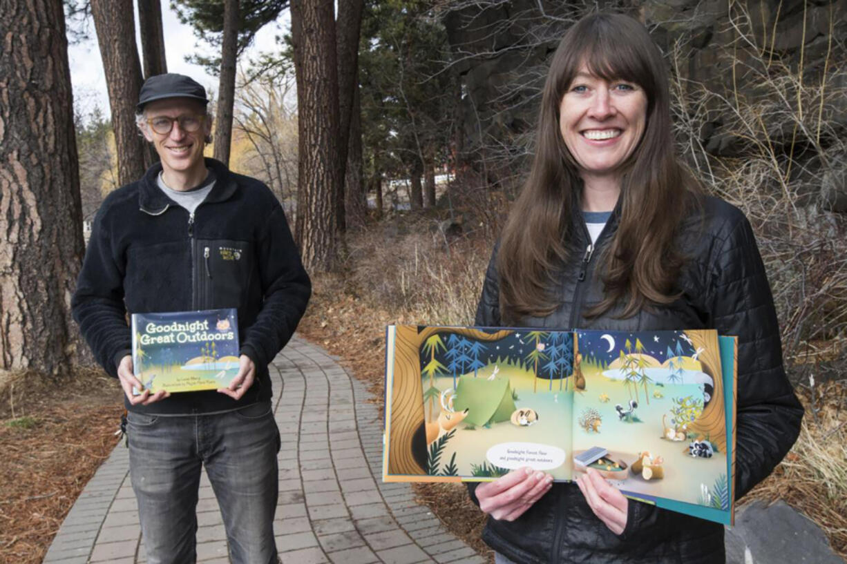 """Author Lucas Alberg and illustrator Megan Marie Myers, both of Bend, Ore., created """"Goodnight Great Outdoors."""" (Photos by ryan brenecke/Bend Bulletin)"""
