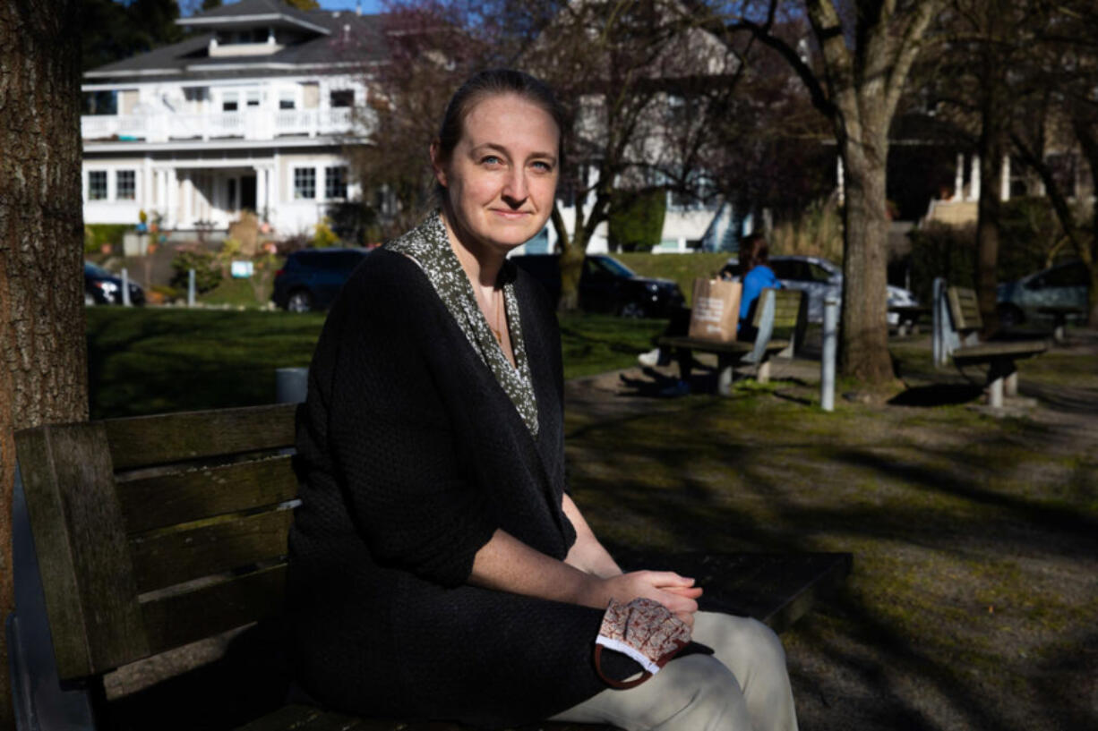 Dr. Rebecca Hendrickson works in Psychiatry, studying PTSD at the University of Washington. Photographed at Seven Hills Park in Seattle's Capitol Hill neighborhood on March 11, 2021. (Matt M.