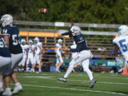 Skyview quarterback Clark Coleman (17) threw touchdowns of 51, 15, 14 and 26 yards to four different receivers and ran for an 8-yard score on Saturday, March 27, 2021, against Mountain View.
