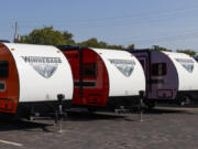 Winnebago Recreational Vehicles at a dealership in Indianapolis. Winnebago Industries said its profit during the winter quarter was five times higher than a year ago.