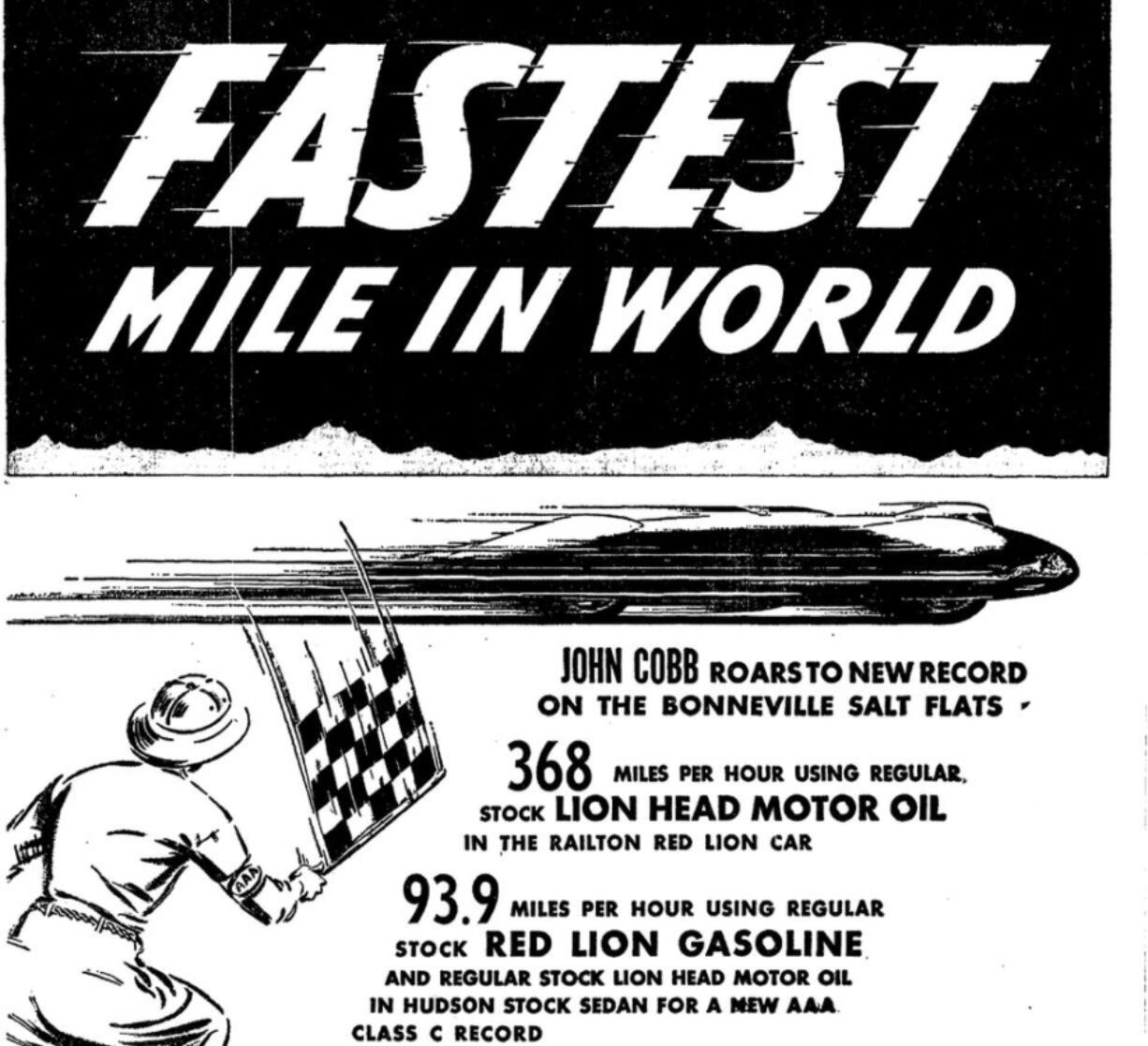 An ad in The Oregon Journal used John Cobb's world record to sell motor oil.