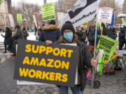 Activists in New York City came out to show their support on Feb. 27, 2021, for the approximately 6,000 Amazon warehouse workers in Bessemer, Alabama, who are voting by mail on whether to be represented by the Retail, Wholesale Department Store Workers Union (RWDSU). The move would make them the first union at an Amazon facility in the country.