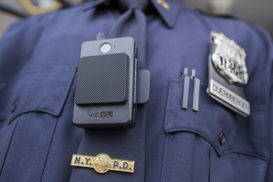 A police officer wears a newly issued body camera outside the 34th precinct in New York in 2017. The Clark County Sheriff's Office would like to start a pilot program to use body cameras.