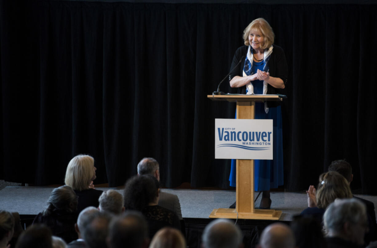 Mayor Anne McEnerny-Ogle thanks her fellow council members as she begins her second State of the City address at City Hall in Vancouver in 2019. This year's State of the City address was delivered online Monday evening.