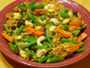 Cashew and vegetable pilaf.