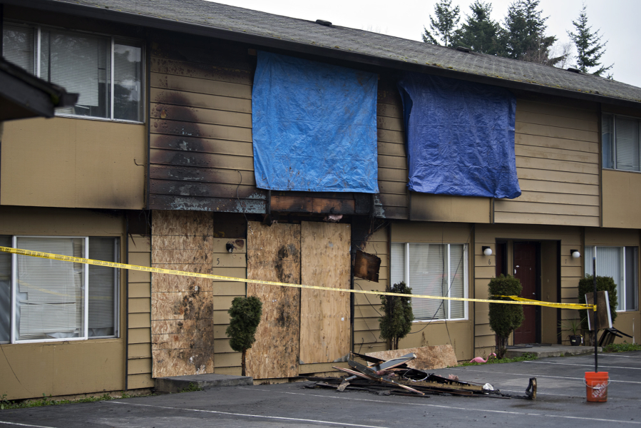 The aftermath of a fatal fire at Date Park Condominiums in Vancouver's Harney Heights neighborhood is pictured Wednesday morning.
