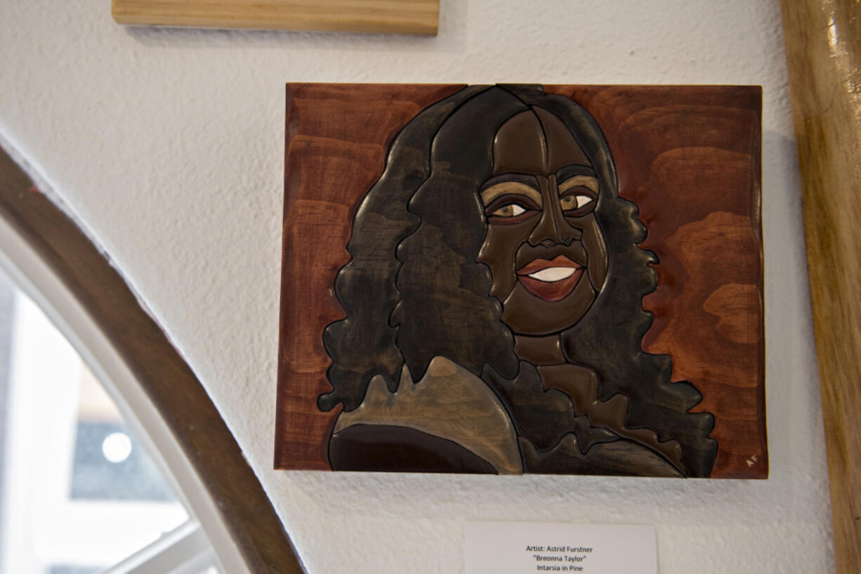 Woodcuts by Astrid Beatriz Furstner, honoring Black heroes and martyrs like Breonna Taylor, are part of the current exhibit at the Phoenix Rising Gallery in downtown Vancouver.