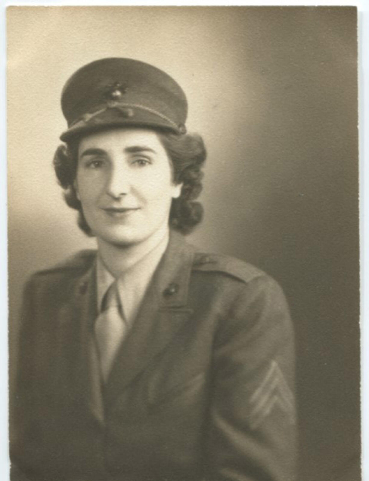 """Sgt. Betty Blair in her Marine uniform in about 1944. She wasn't the first woman in the Marine Corps. During World War I, Elizabeth """"Bessie"""" Welke was, bearing the diminutive moniker """"Marinette."""" Welke was sent to Portland to recruit men for the war. In the next war, Blair was the first woman Marine in Clark County and Washington - and likely the first in the Pacific Northwest."""