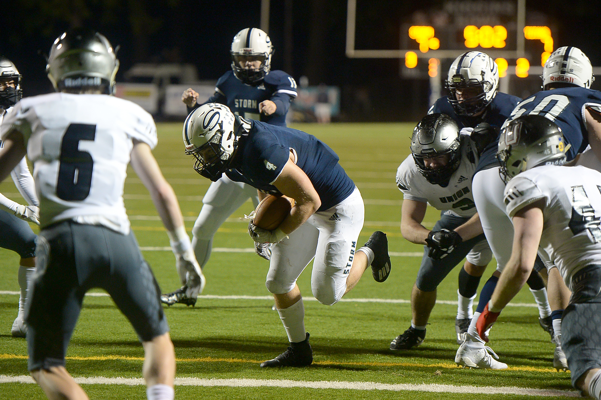 Skyview's Gabe Martin scores a touchdown against Union at Kiggins Bowl on Friday night, March 12, 2021.