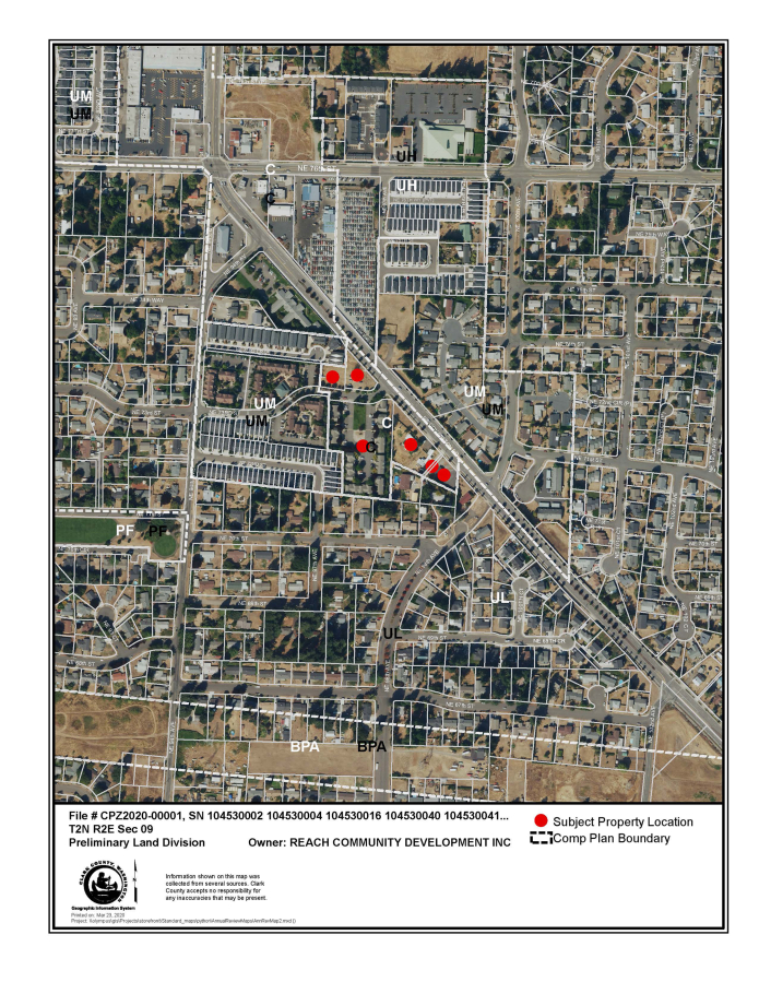 An aerial view of the neighborhood that includes the site of the proposed zoning change (red dots) and convenience stores just north at the intersection of Northeast 76th Street and Northeast Covington Road.